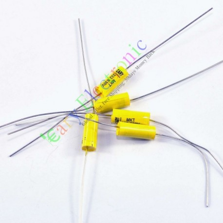 Yellow Long Lead Axial Polyester Film Capacitor 0.0033uf 630v Fr Tube Amps