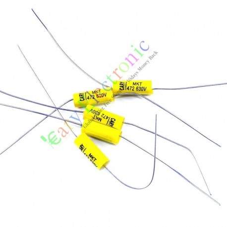 Yellow Long Lead Axial Polyester Film Capacitor 0.0047uf 630v for Tube Amps
