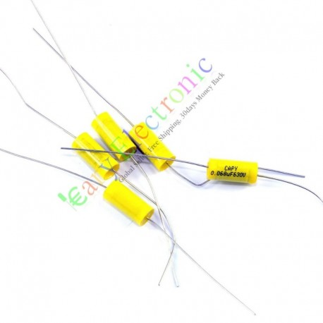 Yellow Long Lead Axial Polyester Film Capacitor 0.068uf 630v for Tube Amps