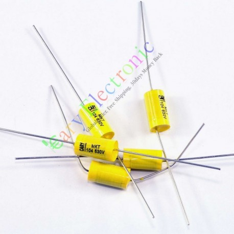 Yellow Long Lead Axial Polyester Film Capacitor 0.1uf 630v for Tube Amps