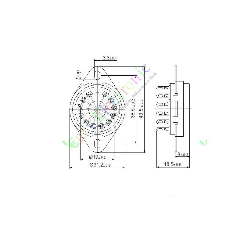 12pin ceramic vacuum tube sockets top mount base valve for