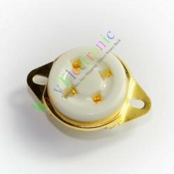 Audio Amp 4pin Ceramic Vacuum Tube Socket Gold Plated for 300b 2a3