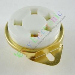 Gilded 5pin Ceramic Vacuum Tube Sockets Gold Valve Base for 807 Fu7 27 24 37