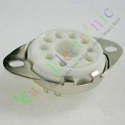 9pin Ceramic Vacuum Tube Socket Valve Base for El504 El519 Audio Amps Parts
