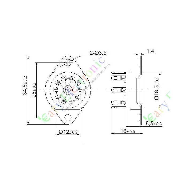 9pin bakelite vacuum tube socket valve base 12ax7 12au7