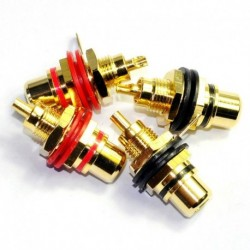 Gold RCA Jack Female Chassis Connector AMP Sockets