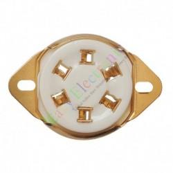 6pin Gold Ceramic vacuum tube socket top mount valve 310 366 audio amp DIY