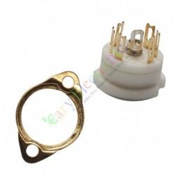 6pin Gold Ceramic vacuum tube sockets HIFI audio amplifier DIY radio parts