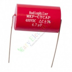 MKP 400V 4.7uf Red long copper leads Axial Electrolytic Capacitor audio amp