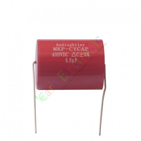 MKP 400V 8uf Red long copper leads Axial Electrolytic Capacitor audio amp