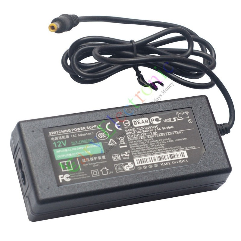 12V 3A 36W AC/DC Adapter Power Supply Charger Switch