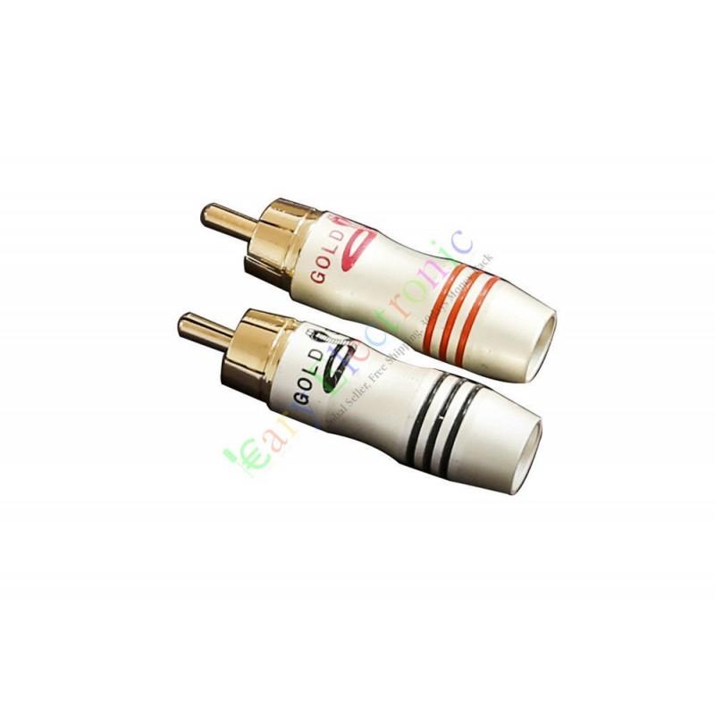 Gold plated copper rca av plug screw locking tube audio